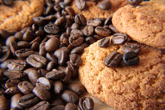 Coffee grains and cookies Stock Photos