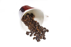 Coffee grains and cup over white background Royalty Free Stock Images