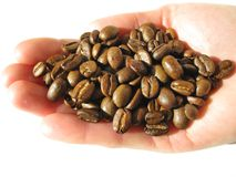Coffee grains in a hand Royalty Free Stock Image