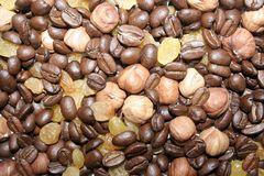 Coffee grains, nuts and raisin texture Stock Photo