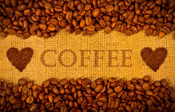 Free Coffee Grains On The Burlap Background Royalty Free Stock Photos - 23871318