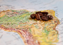 Coffee grains on South America Royalty Free Stock Photo