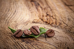 Coffee grains on wooden background Royalty Free Stock Image