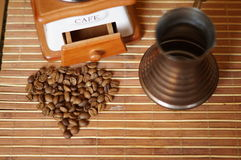 COFFEE GRAINS TURK GRINDER Royalty Free Stock Photos