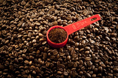 Coffee granules and seeds Royalty Free Stock Photos