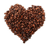 Coffee granules with shape of heart Stock Image