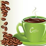 Coffee and green cup Stock Photos