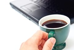 Coffee in green cup Stock Images