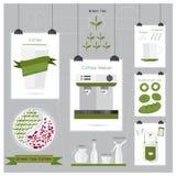 Coffee green tea coffee leaf menu Apron coffee Mug Sugar ribbon Stock Photo