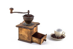 Coffee Grind. Old coffee mill isolated on white Stock Photography