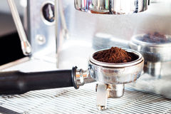 Coffee grind in group with coffee machine Stock Photography