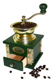 Coffee Grinder. With shiny beans in the top hopper. old fashioned type of Stock Photography