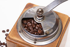 Coffee grinder. Coffee beans in an old coffee grinder stock photos