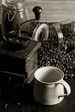 Coffee and grinder stock photo