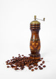 Coffee Grinder. Vintage coffee grinder with coffee beans Royalty Free Stock Photography