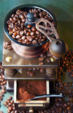 Coffee grinder. Coffee beans and wooden grinder Stock Images