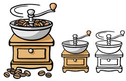 Coffee grinder. With and without coffee beans in color and just outline Stock Image