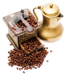 Coffee grinder -4-. Coffee grinder, coffeepot and beans Stock Image