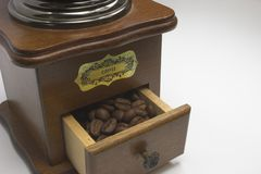 Coffee Grinder. With coffe beans Royalty Free Stock Images