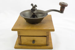 Coffee grinder. Antique wooden coffee bean grinder Royalty Free Stock Photo