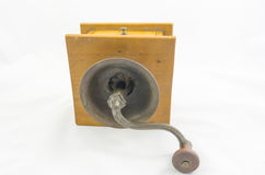 Coffee grinder. Antique wooden coffee bean grinder Royalty Free Stock Image
