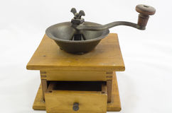 Coffee grinder. Antique wooden coffee bean grinder Royalty Free Stock Photos