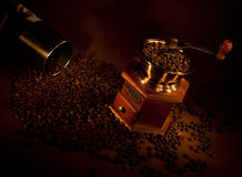 Coffee grinder with beans. Stock Photo