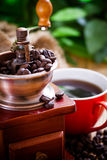 Coffee grinder. And coffee beans stock image