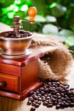 Coffee grinder. And coffee beans stock photo