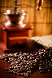 Coffee grinder. And coffee beans royalty free stock photo