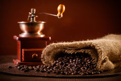 Coffee grinder. And coffee beans stock photography