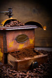 Coffee Grinder and Beans Stock Photo