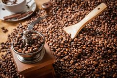 Free Coffee Grinder Beans And Cup Of Coffee Stock Photos - 37413423