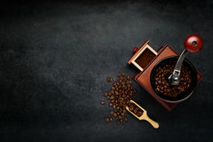 Coffee Grinder with Beans and Copy Space stock photo