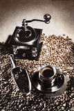 Coffee grinder beans cup. Royalty Free Stock Photography