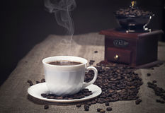 Coffee grinder and beans Stock Image
