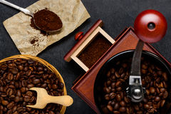 Coffee Grinder with Brown Roasted Coffee Beans Royalty Free Stock Image