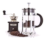 Coffee grinder and cafetiere Stock Photos