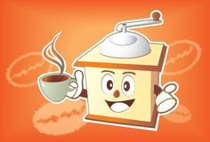Coffee grinder cartoon Stock Images