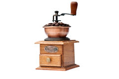 Coffee grinder and coffee beans Royalty Free Stock Photo