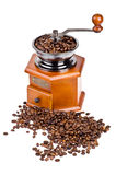 Coffee grinder and coffee beans Stock Images