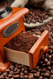 Coffee grinder with coffee beans Royalty Free Stock Image