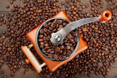 Coffee grinder with coffee beans. Top view Stock Photography