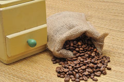 Coffee grinder with coffee beans Stock Photos