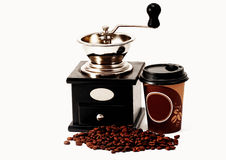 Coffee Grinder,Coffee Beans and Coffee Cup Royalty Free Stock Photo