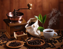 Coffee beans and grinder coffee Royalty Free Stock Image