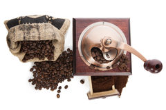Coffee grinder and coffee beans. Royalty Free Stock Photo