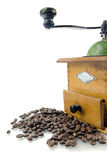Coffee grinder with coffee beans. Isolated Royalty Free Stock Images