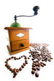 Coffee grinder with coffee beans. Isolated Royalty Free Stock Photography