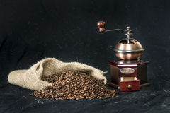Coffee grinder and coffee beans Royalty Free Stock Image